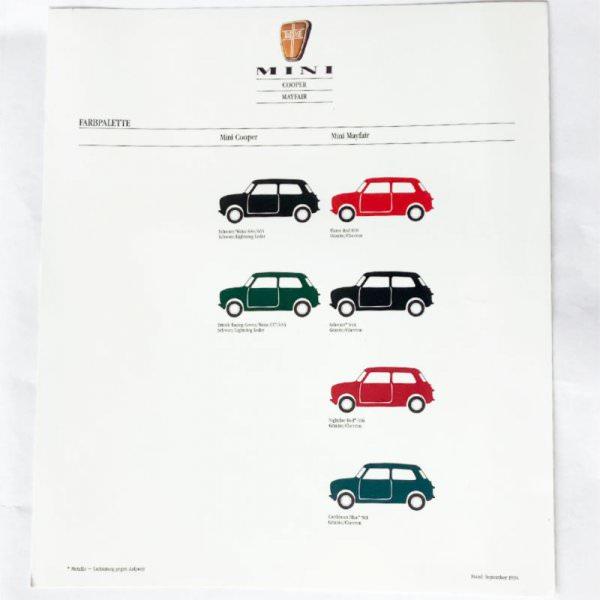 Prospektblatt Mini Cooper & Mayfair Farbpalette