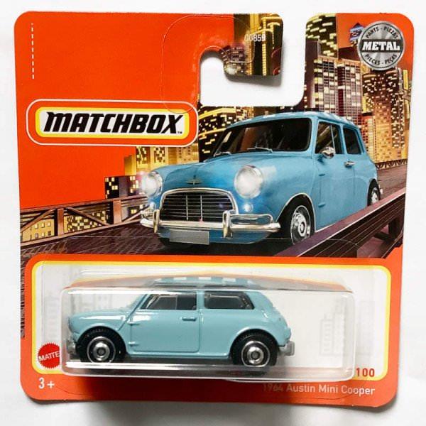 Matchbox   Austin Mini Cooper hellblau mit kariertem Dach