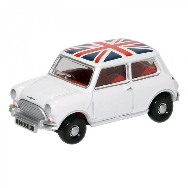 Oxford Diecast | Austin Mini white with Union Jack roof
