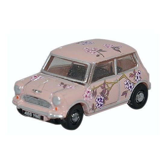 Oxford Diecast | Austin Mini pink with flowers 1:148