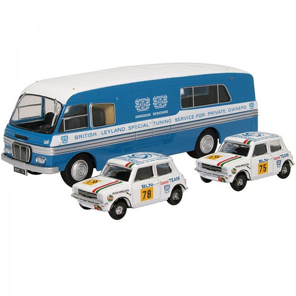 Oxford Diecast | BMC Car Transporter mit 2 Minis 1275 GT BLN-Team