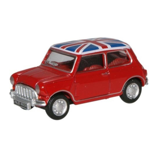 Oxford Diecast | Austin Mini red with Union Jack