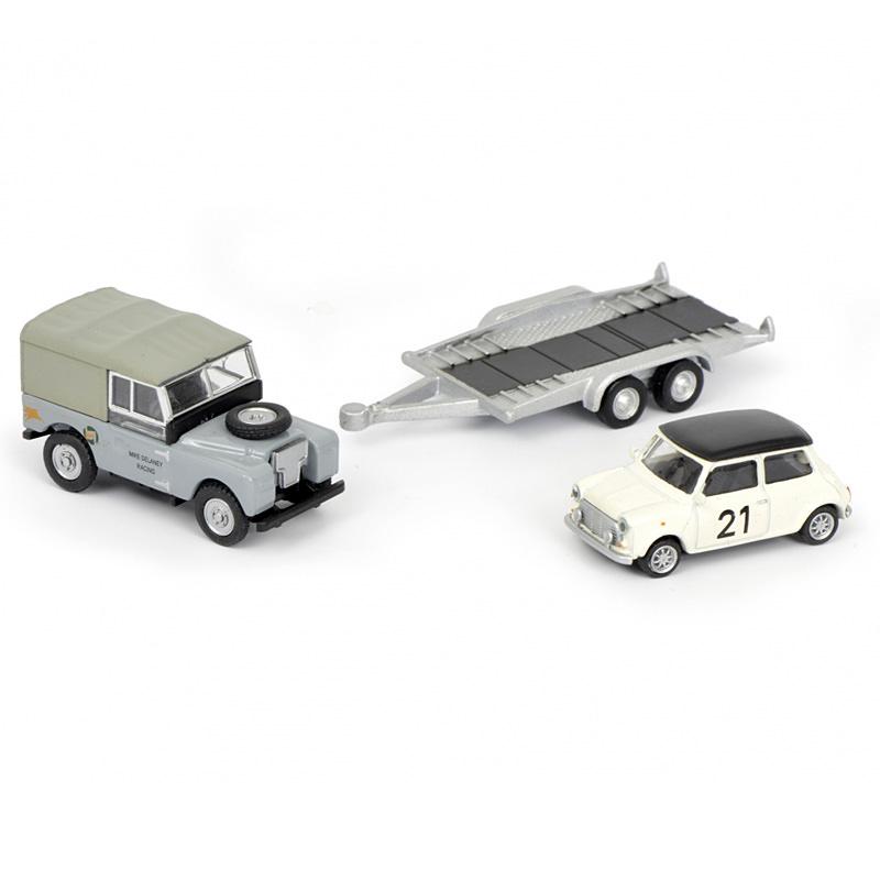 Schuco Land Rover With Mini Cooper And Trailer Minimodelle24de