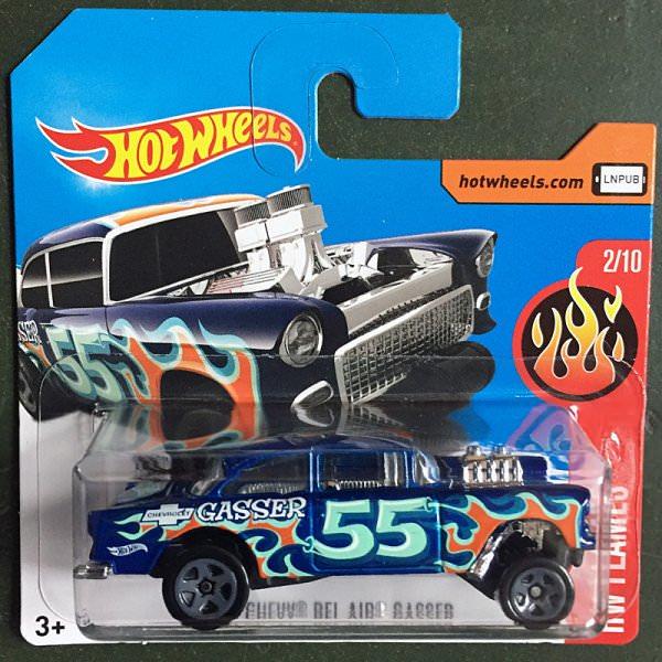 Hot Wheels   Chevy Bel Air Gasser blue metallic flames